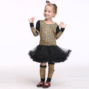 Children's Halloween Europe and America Play Cosplay Clothes Girl Leopard Print Cartoon Costumes Suit