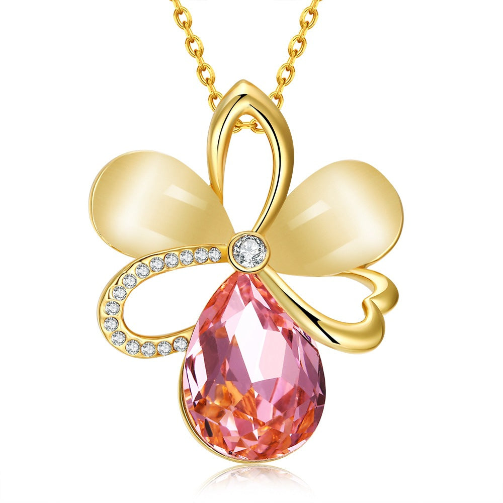 FRUIT Cat Eye Artificial Gemstone Flower Gold Plated Necklace