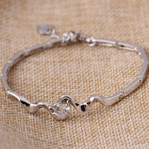 Zircon Gemstone Wave Shape Bracelet for Women