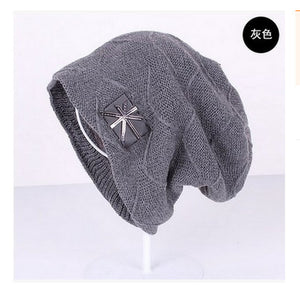 Pure Color Velour Knitting Beanies with logos for Men