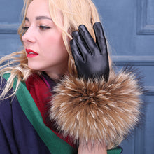 Black Women Leather Gloves with Fur Cuffs (1 pair)