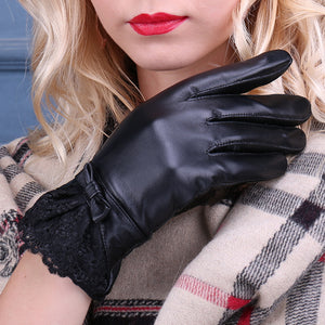 Black Leather Gloves Bowtie Detail Lace Cuffs for Women (1 pair)