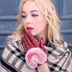 Check Plaid Woven Leather Gloves Rabbit Fur Detail Cuffs (1 pair)