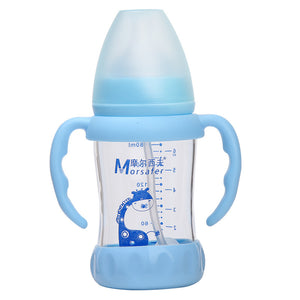 Baby Wide-caliber Glass Bottle Baby Neonatal Boot High-borosilicate Newborn Baby Milk Bottle Natural Glass Feeding Glass Bottle