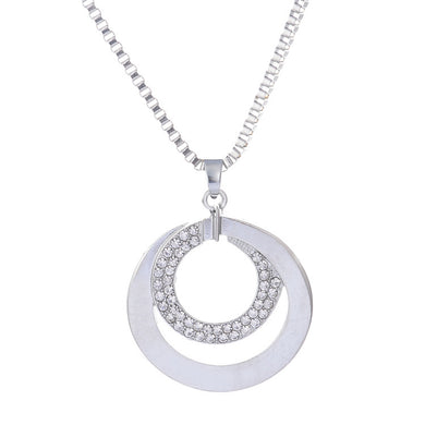 Pendant Two Circle Couple Necklace diamante Stone Lover Jewelry Christmas Gift