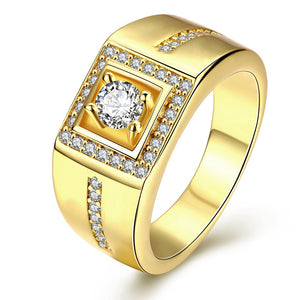 Zircon Rhinestone Detail Square Cut Rings for Men