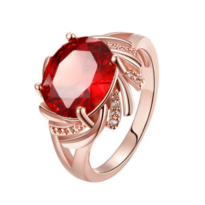 Floral Shape Synthetic Gemstone Plated Rings for Women