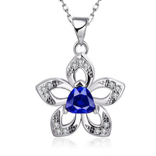Flower Pendant with Triangle Artificial Gemstone Detail Necklace