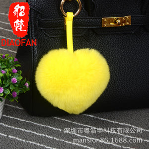Creative Fur Otter Rabbit Hair Peach Heart - Shaped Mobile Phone Hang Decoration Lovers' Birthday Decorations