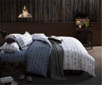 Gray and White Letters Pattern Soft and Luxury Beddings Set