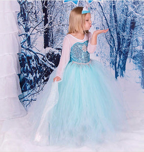 Lace Elsa Dress Girl Frozen Princess Cosplay Costume