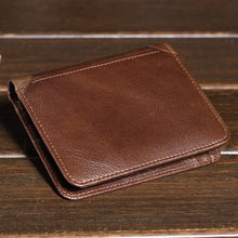 Vintage Men Short Brand Wallet Brown Leather Cowhide Wallet