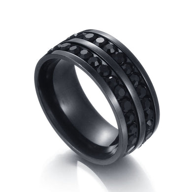 Stainless Steel Ultra High Quality Korean Edition Full Of Black Double Row Diamond Ring