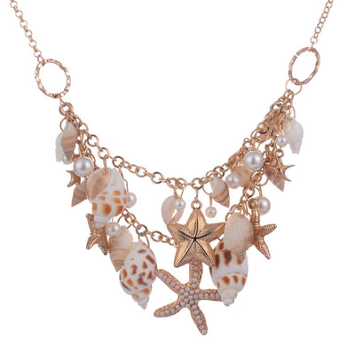 New Arrival Big Starfish Conch Statement Necklaces Pendants Simulated Pearl Necklaces for Women Summer Beach Style Bijoux