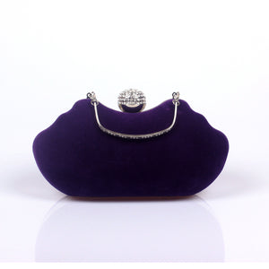 High-quality Velvet Clutch Rhinestone Detailed  Evening Bag