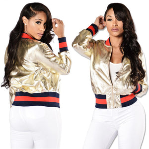 Gold Zipper Up Long Sleeve Baseball Jacket for Women