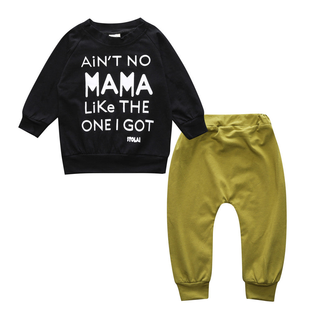 Baby Kids Funny Letter Logo Spring and Autumn Cotton Long Pullover and Pants Suits