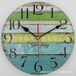 Green and Blue Color Stripes Retro Fashion Wall Clock