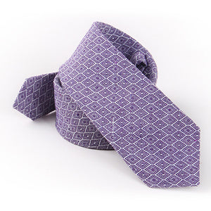 Men's Tie Rhombic Checked Polyester Cotton Blended Yarn-Dyed Fashion Tie Imitation Flax