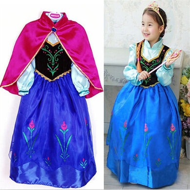 Princess Anna Lace Cosplay Costume Long Dress for Girls Kids