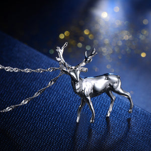Silver Rudolph Pendant Christmas Gift Necklace Pendant (pendant only)