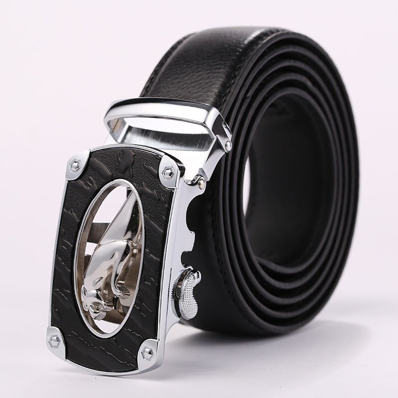 Black Band Alloy Panther Pattern Buckle Belts