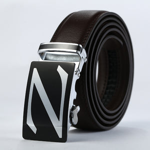 Fashion Black PU Leather Band Metal Rectangle Buckle Belts for Men
