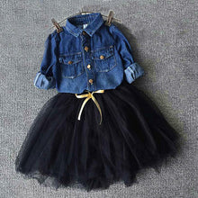 Girl's Cool Jeans Jacket with Black Lace Short Skirt (2 pcs/set)