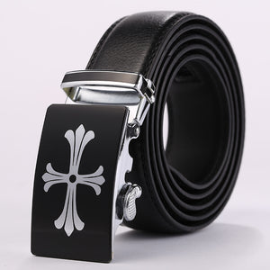 Black Band Alloy Cross Pattern Buckle Belts