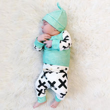 Baby Autumn Green Cartoon Long-sleeved Rompers Suits with One Hat