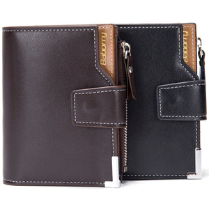 New Men Short Wallets Black Brown Wallet Mens Leather Card Holder Money Cash Wallet Purses Pockets