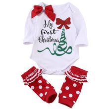 Christmas Bowtie Baby Girls Rompers Suits