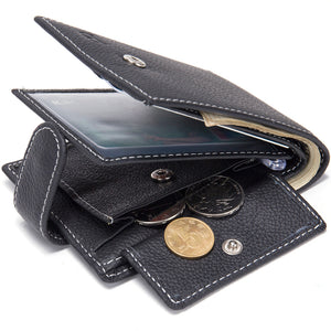 Men Leather Coin Purse Cowhide Business Luxury Brand Male Black Card Holder Bag
