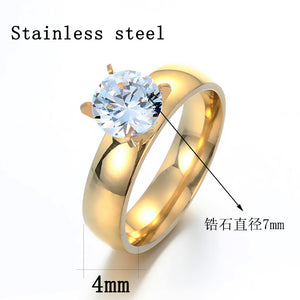 Hand Acted As A Simple Jewelry Couple Wedding Ring Zircon Ring Titanium Steel Jewelry Wholesale