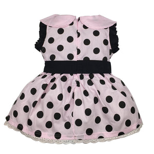 Polka Dots Pattern Spread Round Corner Collar Sleeveless Dress