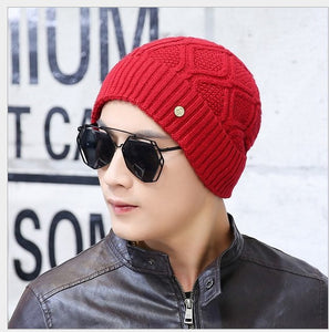Pure Color Plaid Check Knitting Sweater Beanies