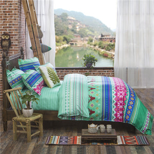 Ethnic Fashion Viridian Color Soft and Luxury Beddings Set