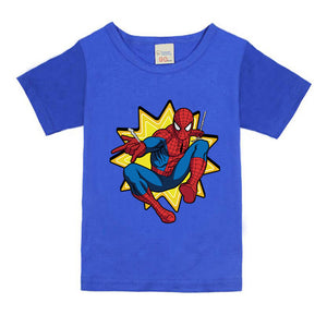Spiderman Comic Super Hero Short Sleeve T-Shirt Children Clothing Flash Cartoon T-Shirts