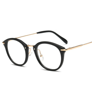 Oval Shape Frames Retro Fashion Flat Lens Glasses