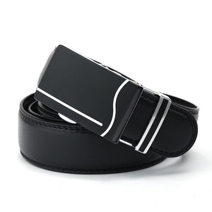 Wave Pattern Buckles Black Synthetic Leather Belt