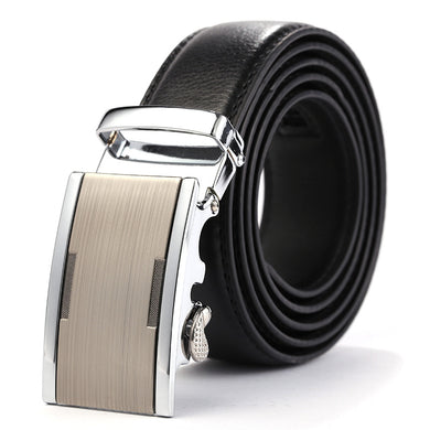 Solid Buckle with Automatic Ratchet Leather Belt