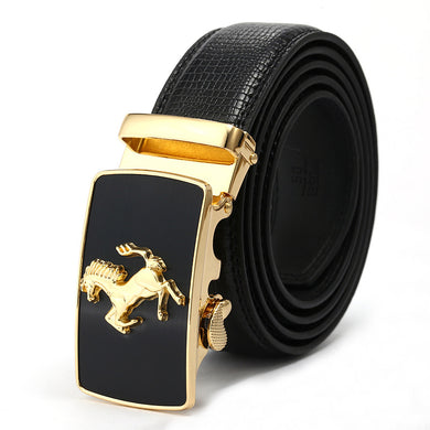 Black Band Alloy Running Horse Pattern Buckle Belts