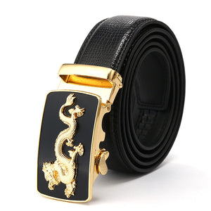 Black Artificial Leather Dragon Pattern Buckle Belts