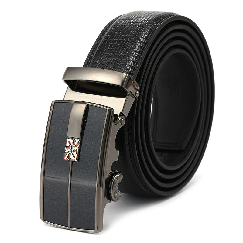 Ratchet Buckle Black Synthetic Leather Belt for Men
