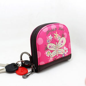 Lady's Short Wallet China Wind Color Printing Zipper Zero Purse For Women