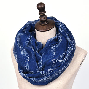 Voile Women's Warm Keeping Musical Notes Pattern Scarf