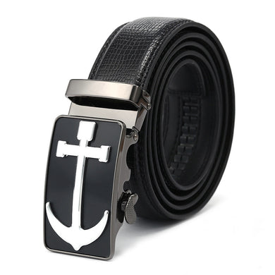 Black Band Alloy Anchor Pattern Buckle Belts