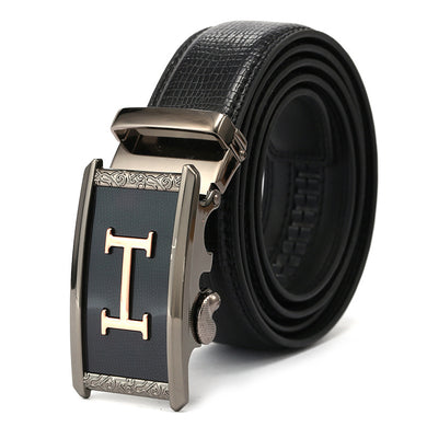 Black Band Alloy Auto Close Buckle Belts