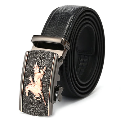 Black Aritificial leather Belt Casual Fashion Runing Horse Pattern Buckles for Men