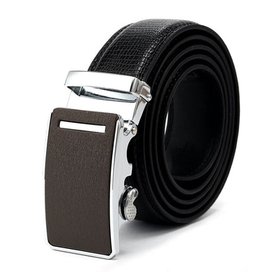 Alloy Matte Buckle Artificial Black Leather Belt